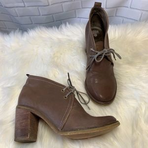 Jeffrey Campbell Boxxy Brown Leather Booties Size
